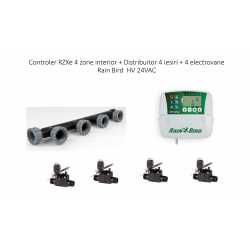 Controler RZXe4 zone interior + Distribuitor 4 iesiri + 4 electrovane Rain Bird HV FE 24VAC
